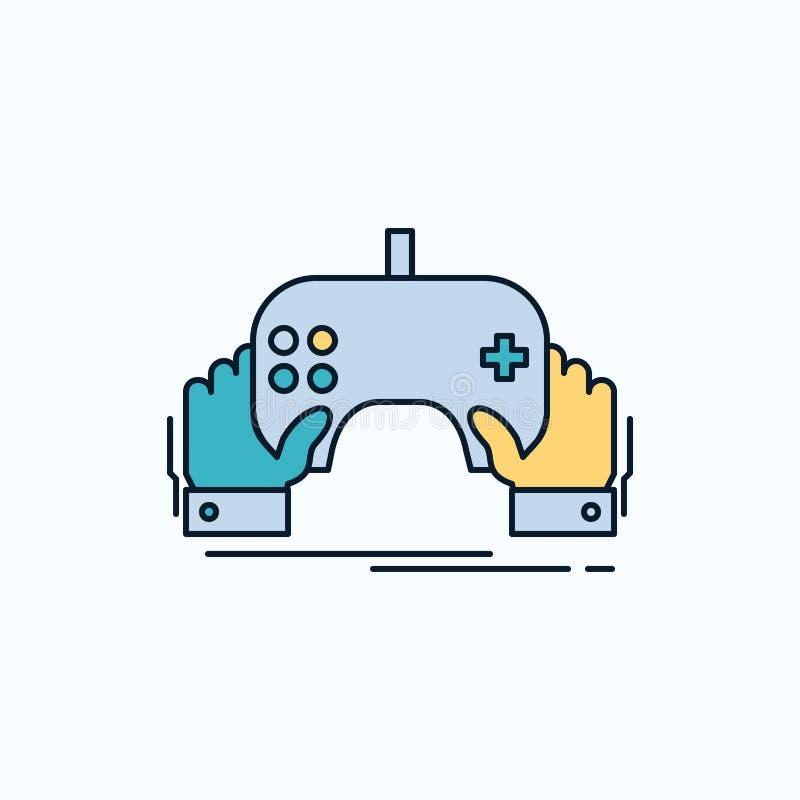 Spiel, Spiel, Mobile, Unterhaltung, App flache Ikone r Vektor stock abbildung