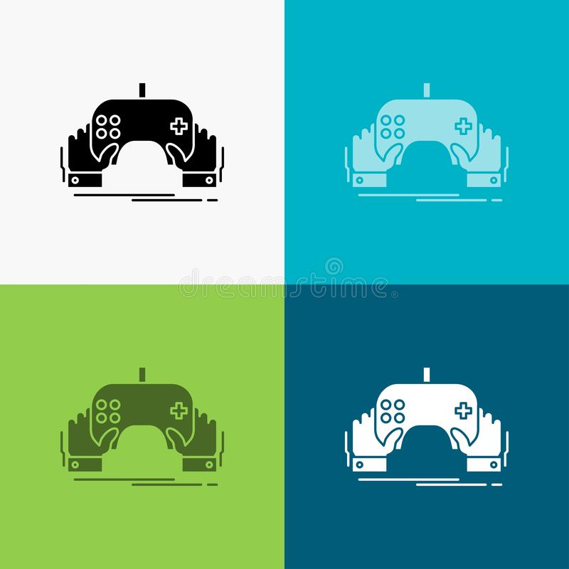 Spiel, Spiel, Mobile, Unterhaltung, App Ikone über verschiedenem Hintergrund Glyphartdesign, bestimmt f?r Netz und APP Vektor ENV vektor abbildung
