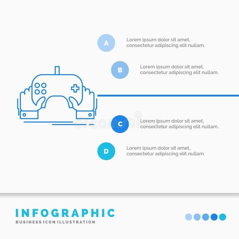 Spiel, Spiel, Mobile, Unterhaltung, App Infographics-Schablone für Website und Darstellung Linie infographic Art der blauen Ikone vektor abbildung
