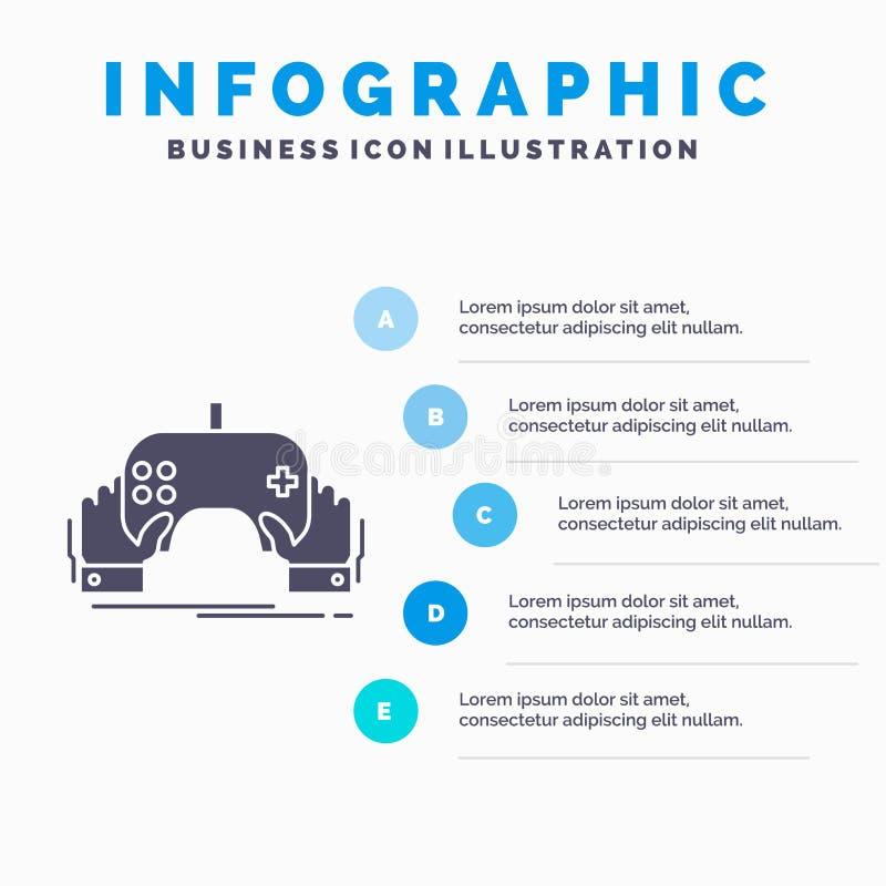Spiel, Spiel, Mobile, Unterhaltung, App Infographics-Schablone f?r Website und Darstellung Graue Ikone des GLyph mit blauem infog lizenzfreie abbildung