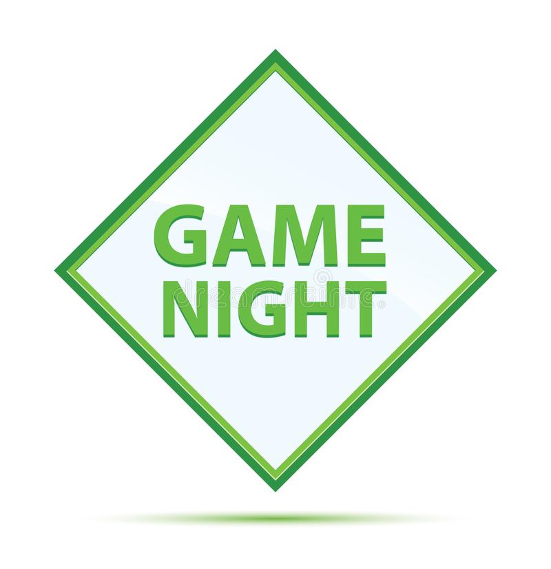 Spiel-Nachtmoderner abstrakter grüner Diamantknopf stock abbildung