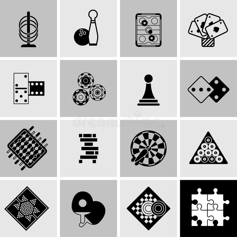 Spiel-schwarze Ikonen eingestellt stock abbildung