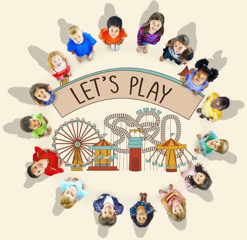 Spiel-Tätigkeits-Unterhaltungs-Glück-Freizeit-Konzept stockbild