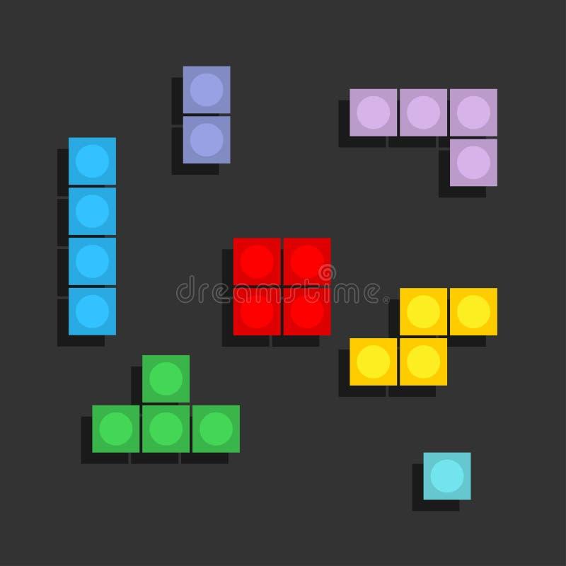 Spiel-Tetris-Pixelziegelsteine Colorfull-Spielhintergrund lizenzfreie abbildung