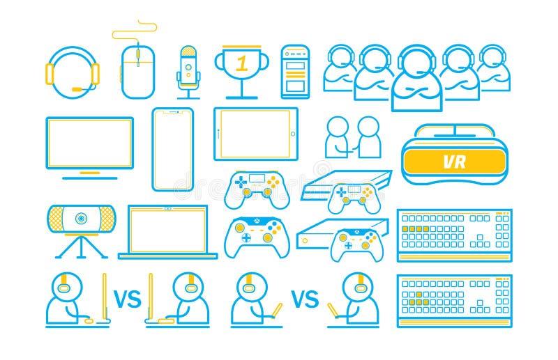 Spiel-und Technologie Spiel unterhalten dünne Linie die eingestellten Ikonen lizenzfreie abbildung
