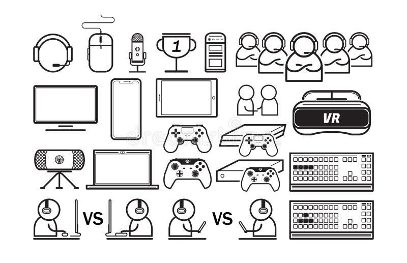 Spiel- und Technologielinie Ikonen eingestellt lizenzfreie abbildung