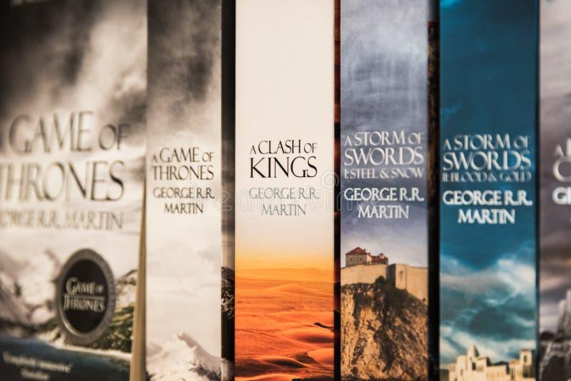 Spiel von Thron-Büchern lizenzfreies stockbild