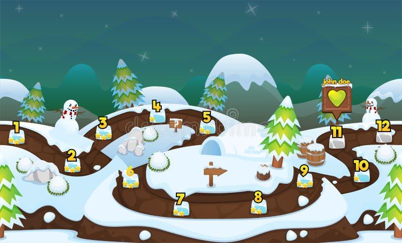 Spiel-waagerecht ausgerichtete Karte des verschneiten Winters lizenzfreie abbildung