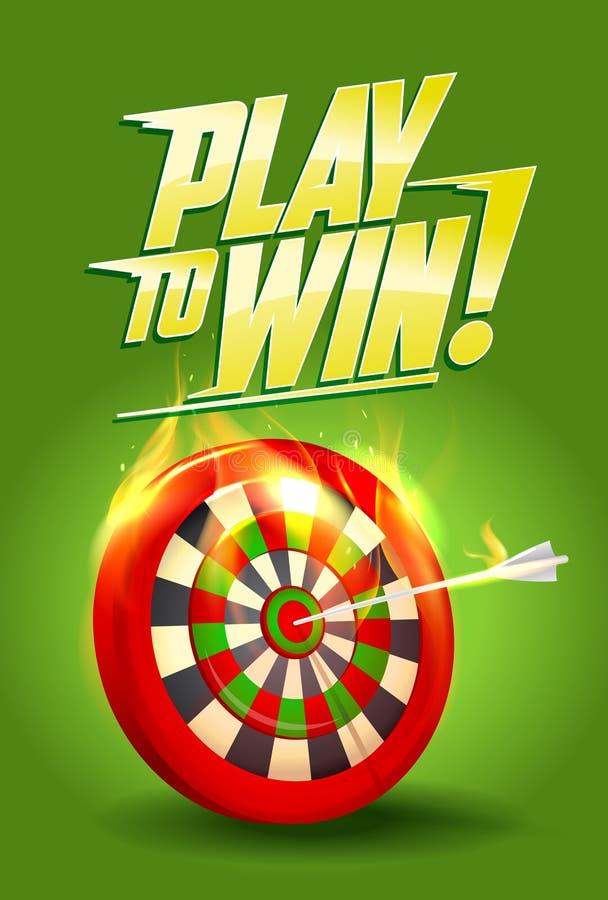 Spiel, zum des Designs, der brennenden Zielillustration, des Sports oder Geschäftserfolg zu gewinnen lizenzfreie abbildung