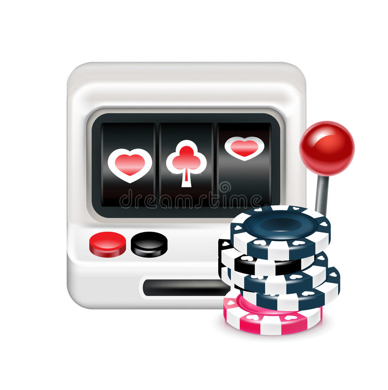 Spielautomat mit den Pokerchips lokalisiert lizenzfreie abbildung