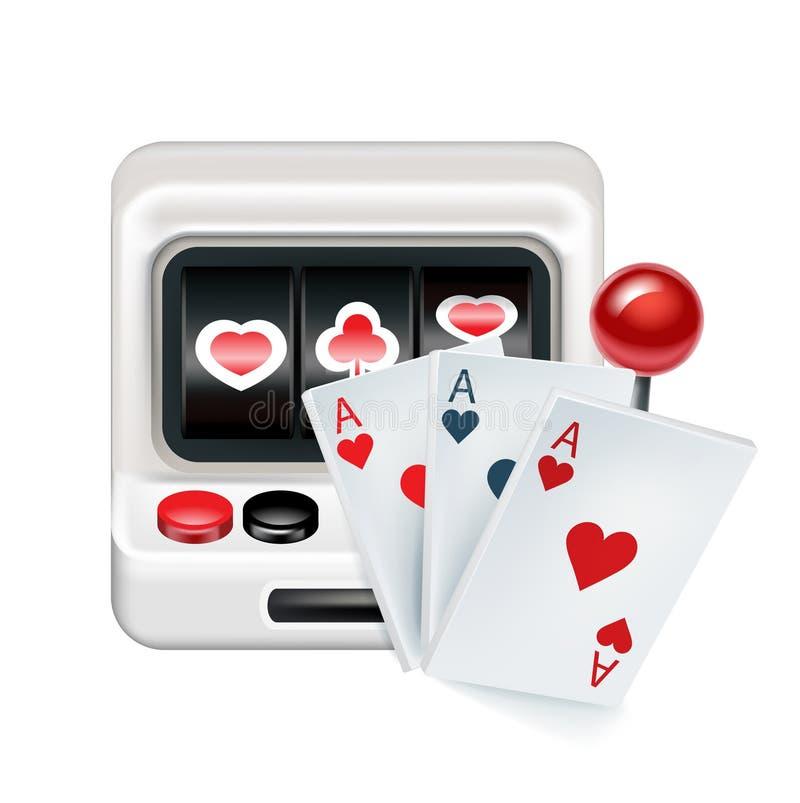 Spielautomat mit den Spielkarten lokalisiert auf Weiß lizenzfreie abbildung