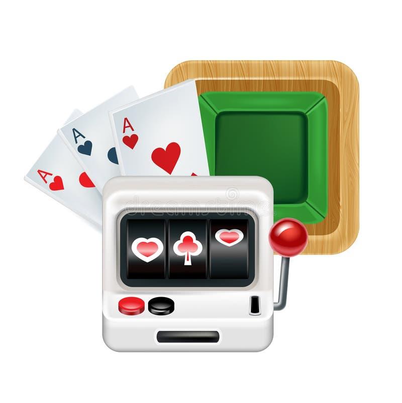 Spielautomat mit Karten und spielen Tabelle lokalisiert auf Weiß vektor abbildung