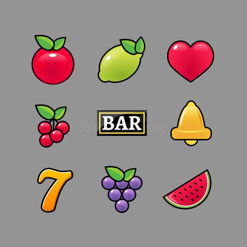 Spielautomatsymbolikonen eingestellt Spielende Spielautomatikonen des Kasinos der Glocke der Fruchtzitrone sieben stock abbildung