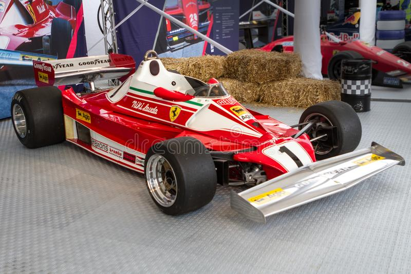 Spielberg, Austria, 2014 – Legendary formula one car bolid, Nikis Lauda historic red Ferrari from 1977 on formula one. Competition, F1 royalty free stock photos