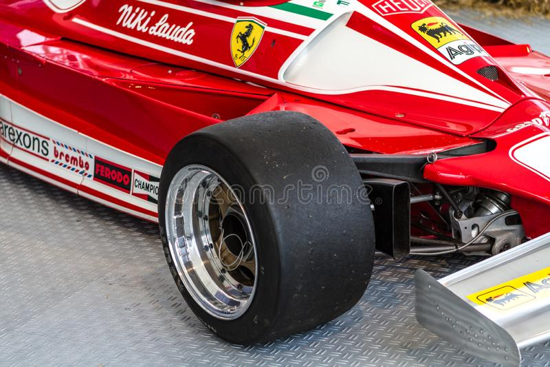 Spielberg, Austria, 2014 – Legendary formula one car bolid, Nikis Lauda historic red Ferrari from 1977 on formula one. Competition, F1 stock images