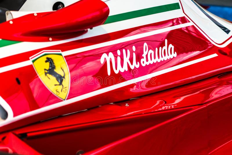 Spielberg, Austria, 2014 – Legendary formula one car bolid, Nikis Lauda historic red Ferrari from 1977 on formula one. Competition, F1 royalty free stock images