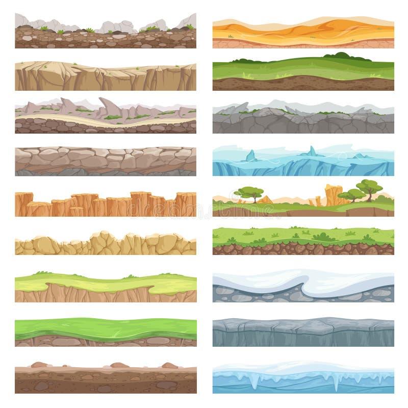Spielboden Unterschiedlicher Boden der Anlagegutbeschaffenheit von den Steinen gefriert Schmutzlandschaftsnahtlosen Vektorhinterg lizenzfreie abbildung
