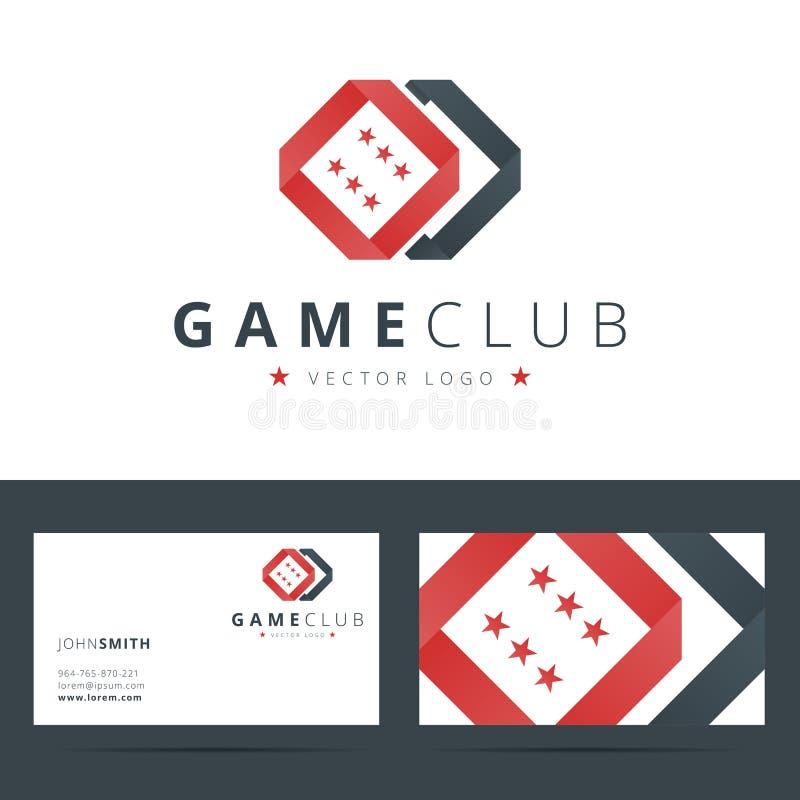 Spielclub oder Kasinologoschablone mit Geschäft lizenzfreie abbildung
