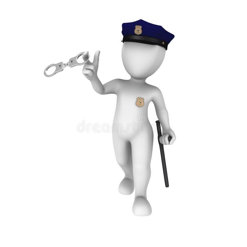 Spiele des Polizisten 3d mit den Handschellen stock abbildung