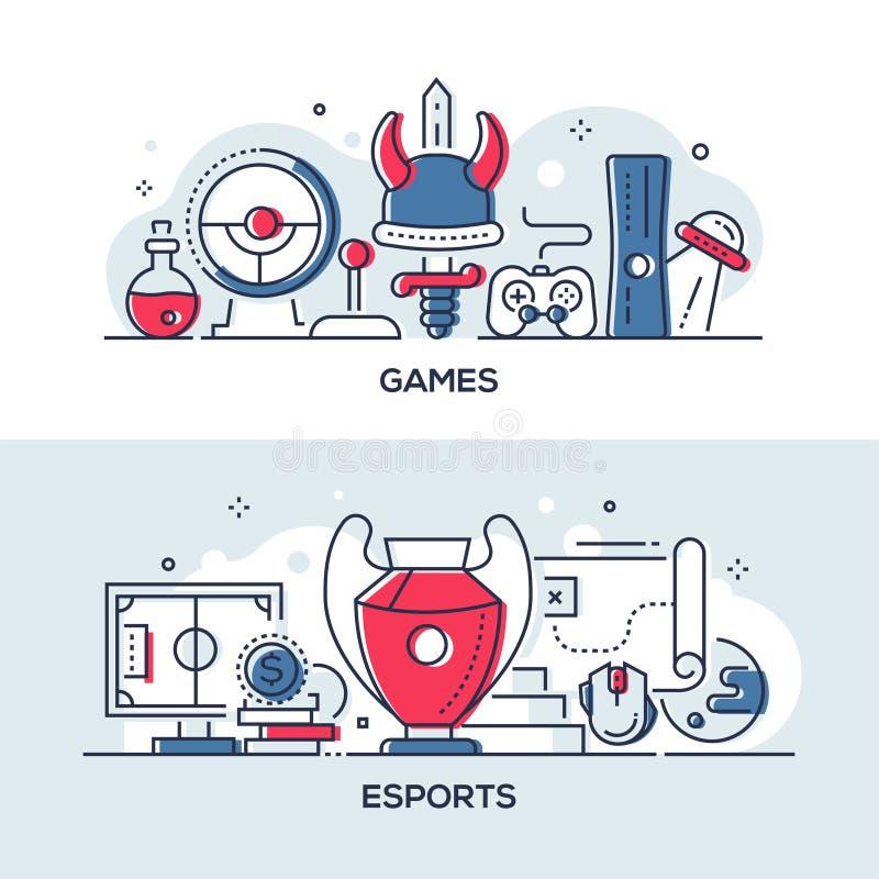 Spiele und esports - moderne Linie Entwurfsartillustrationen vektor abbildung
