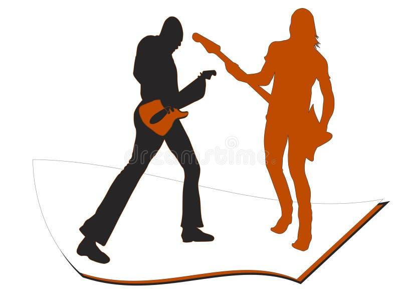 Spielen der Gitarre, unterhalten stock abbildung