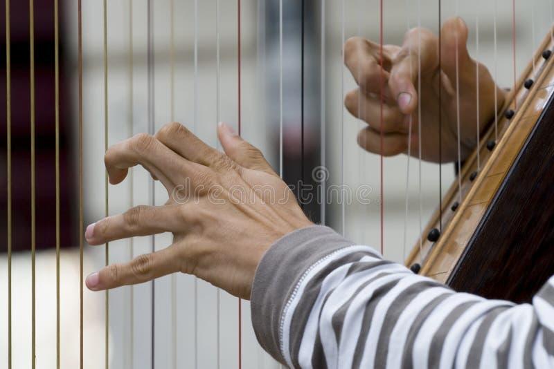 Spielen der Harfe lizenzfreie stockfotografie