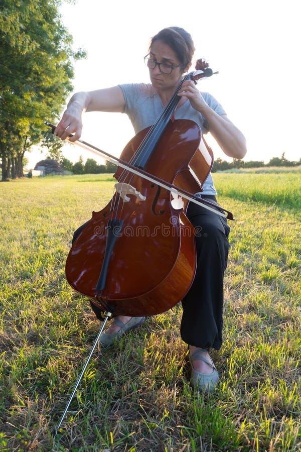 Spielen des Cellos auf der Wiese lizenzfreie stockfotos