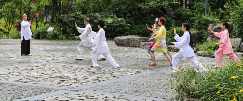 Spielen des chinesischen Schattenboxens in qili Stadt, das Emei Shan, shichuan, Porzellan stockbild