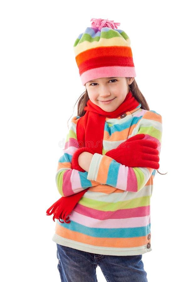 Spielen des Mädchens in der Winterkleidung stockbilder