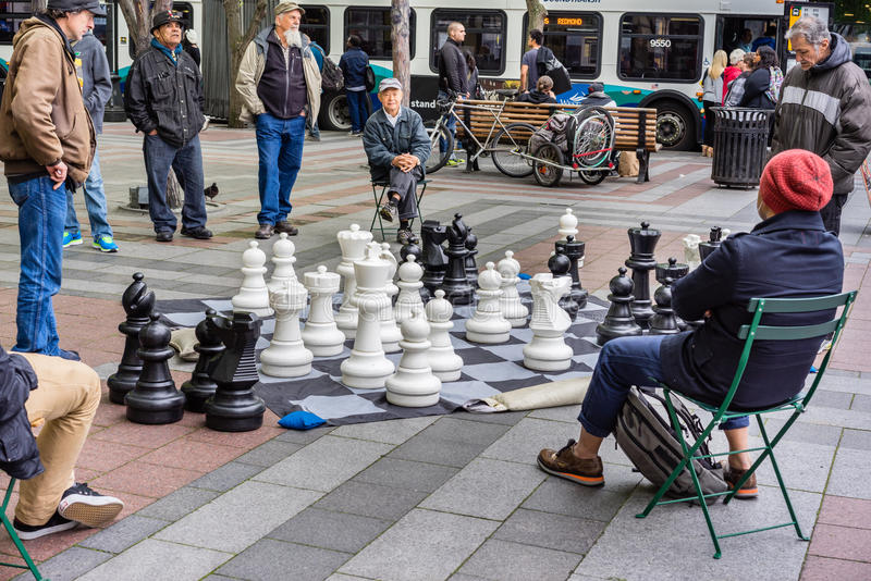 Spielen des Schachs am Park stockbild