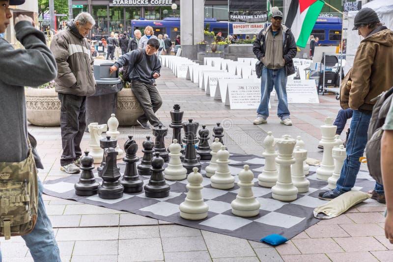 Spielen des Schachs am Park lizenzfreie stockfotos