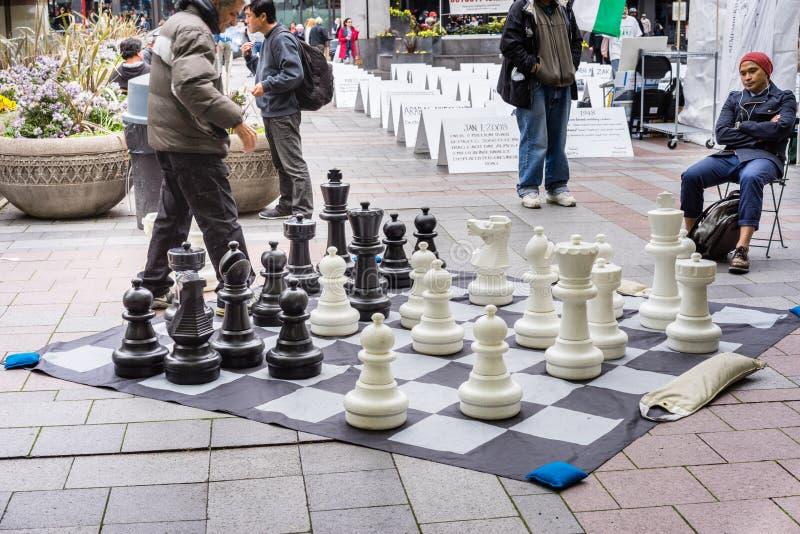 Spielen des Schachs am Park lizenzfreies stockbild