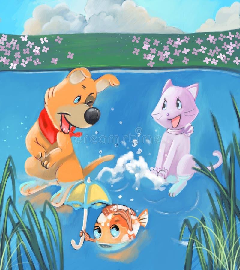 Spielen im Wasser lizenzfreie abbildung