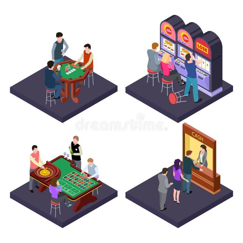 Spielen, isometrische Vektorzusammensetzung des Kasinos mit Spielautomaten, Schürhaken, Bargeldaustausch lizenzfreie abbildung