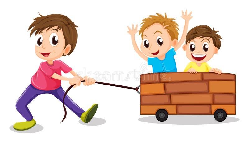 Spielen mit drei Jungen lizenzfreie abbildung