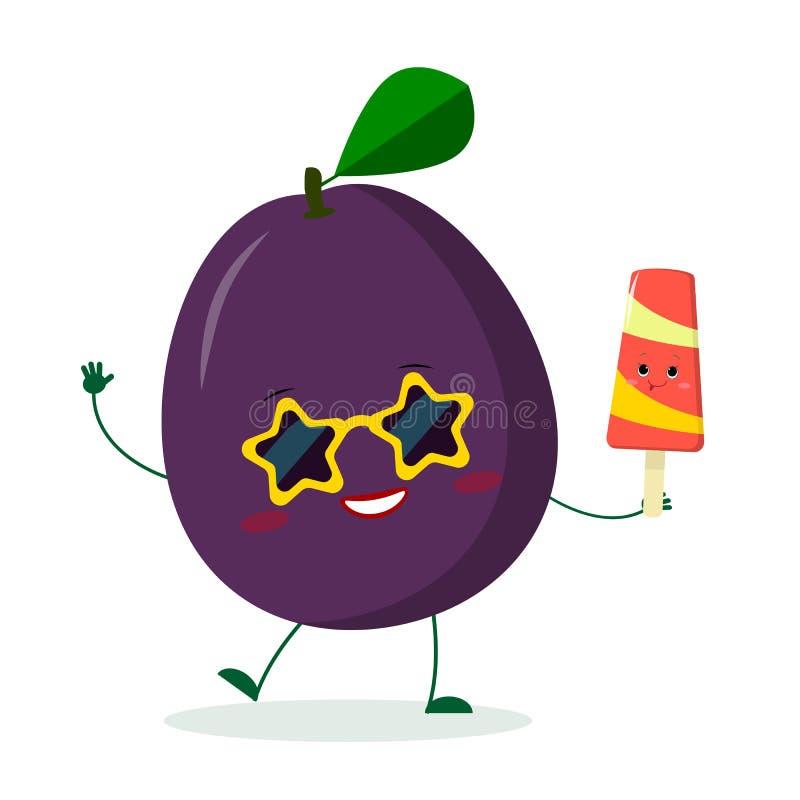 Spielen netter purpurroter Pflaumencharakter Kawaii in der Sonnenbrille in den Händen einer bunten Eiscreme die Hauptrolle Logo,  vektor abbildung