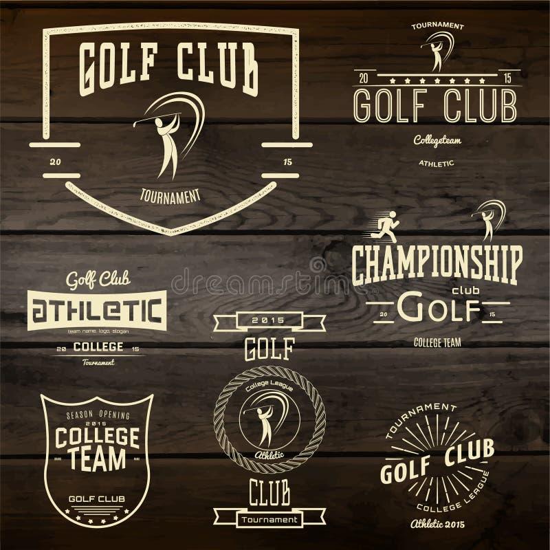 Spielen Sie Ausweislogos und -aufkleber für irgendwelche Gebrauch Golf lizenzfreie abbildung