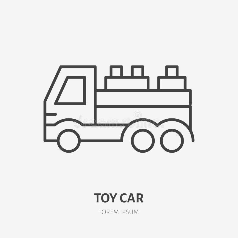 Spielen Sie Autolinie Ikone, flaches Logo des LKWs Sich entwickelnde Spielvektorillustration Zeichen für Kindershop vektor abbildung