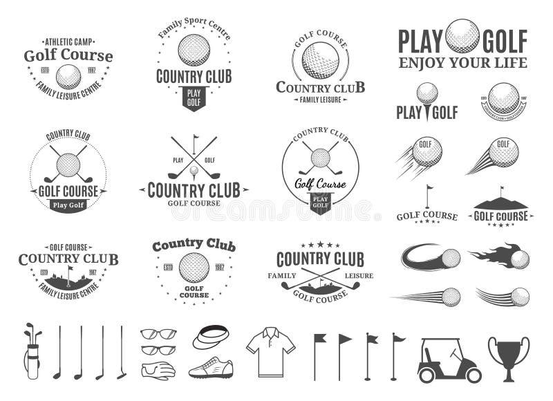 Spielen Sie Countryklublogo, -aufkleber, -ikonen und -Gestaltungselemente Golf vektor abbildung