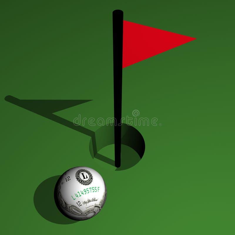 Spielen Sie, Dollarkugel am Loch mit einer Marke Golf lizenzfreie abbildung