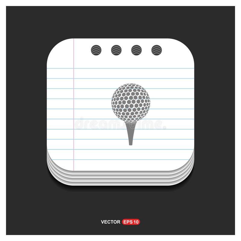 Spielen Sie gekreuzte graue Ikone T-Stücke Ikone auf Notizblock-Artschablone Vect Golf vektor abbildung
