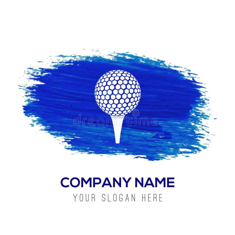 Spielen Sie gekreuzte T-Stücke Ikone - blauen Aquarellhintergrund Golf vektor abbildung