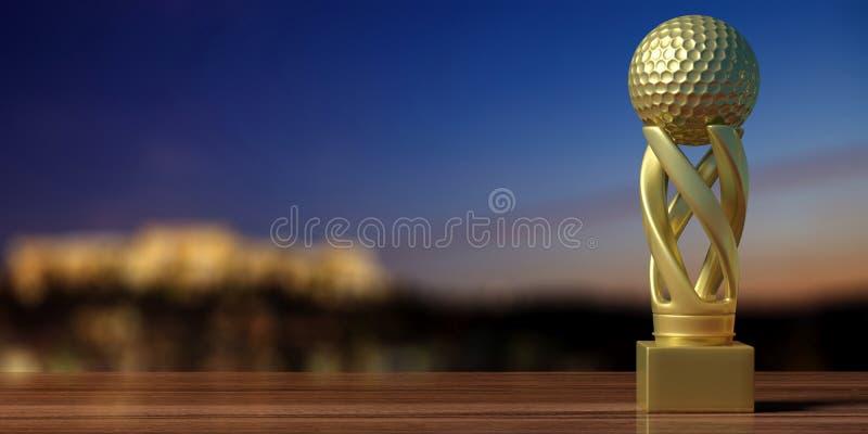 Spielen Sie goldene Trophäe auf einem Holztisch, Unschärfehintergrund Golf Abbildung 3D stock abbildung