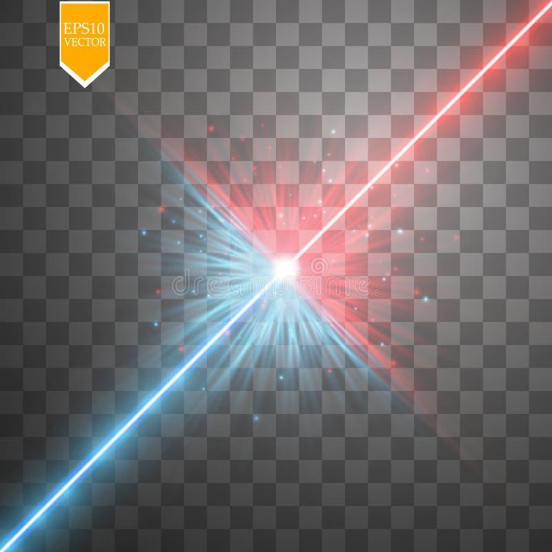 Spielen Sie Lichteffekt des Zusammentreffens und der Explosion, glänzenden Laser-Neonzusammenstoß die Hauptrolle durch stardust a stock abbildung