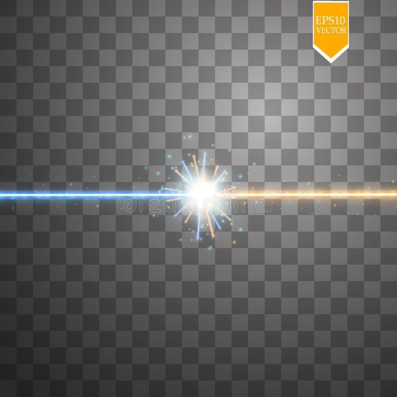 Spielen Sie Lichteffekt des Zusammentreffens und der Explosion, glänzenden Laser-Neonzusammenstoß die Hauptrolle durch stardust a vektor abbildung