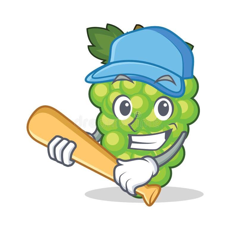 Spielen Trauben-Charakterkarikatur des Baseballs der grünen vektor abbildung