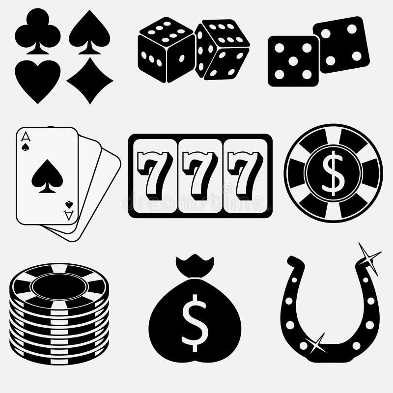 Spielen und flache Ikonen des Kasinos vektor abbildung