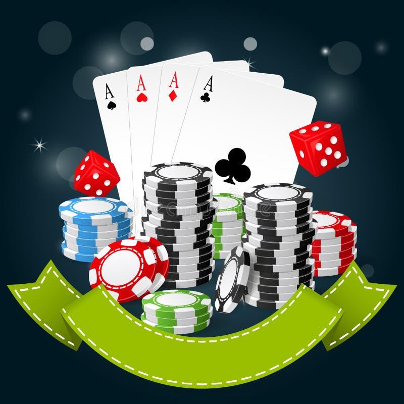 Spielen und Kasinoplakat - Pokerchips, Spielkarten stock abbildung