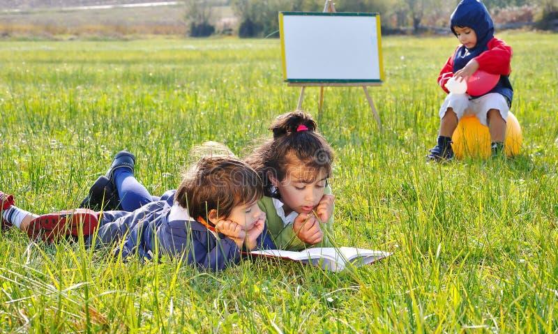 Spielen und Lesen auf Wiese stockbilder