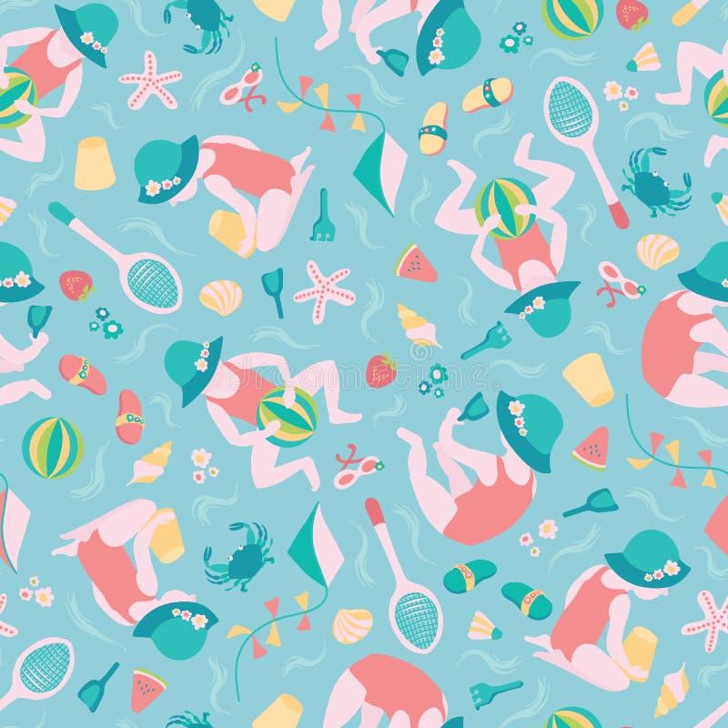 Spielen Vektor-Musterhintergrundes des Mädchen Sommerstrandes des nahtlosen Nettes Kleinkind mit Badminton, Wasserball, Drachen i stock abbildung